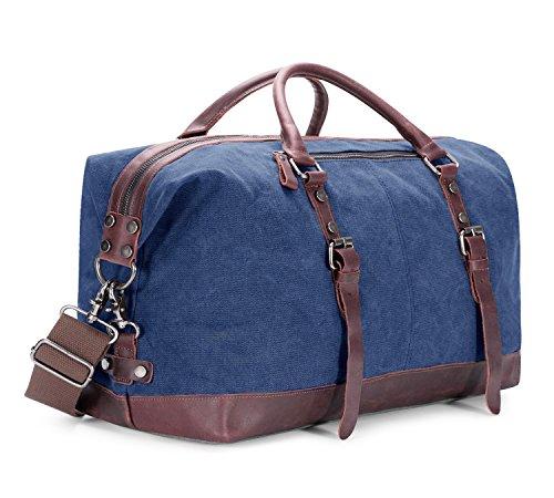 BAOSHA HB-14 Borsone da Viaggio per Sport di tela e pelle sintetica Uomo Donna Vintage Borsa Weekend Bag Borsa a tracolla di tela Casual Viaggi Tote Deposito Satchel Handbag Vagabondo Borsoni (Blu)