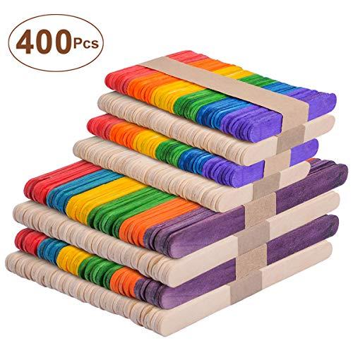 UCEC 4 in 1 Bunt & Natur Holzstäbchen mit verschiedenen Größen, 400 Stücke Holzstäbe zum basteln, für EIS DIY Handwerk Bastelarbeiten