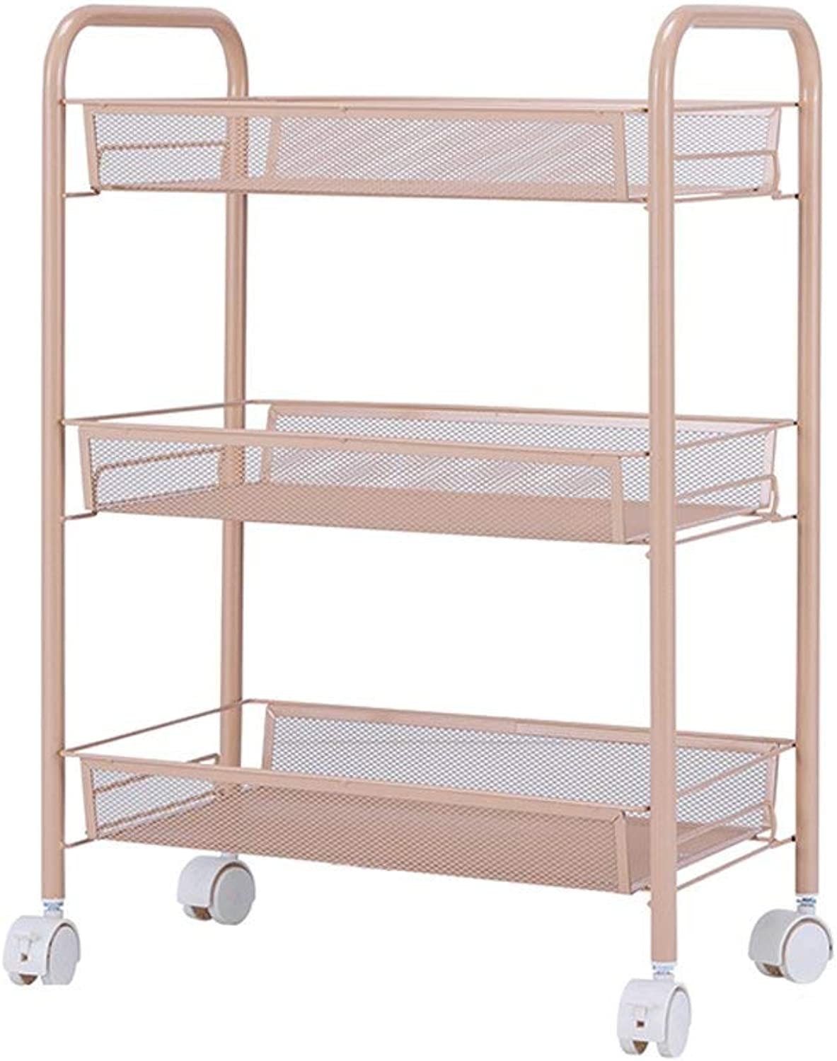 Der Kitchen Storage Kitchen Shelf, Three-Layer Basket Removable Trolley Rack Multifunctional Storage Rack Storage Shelves