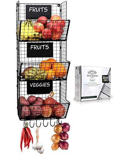 Granrosi Wall Mounted Fruit And Vegetable Wire Baskets Set of 3 For Potato And Onion Storage