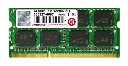 Transcend Arbeitsspeicher 4GB JM DDR3 1333Mhz SO-DIMM 2Rx8 256Mx8 CL9 1.5V