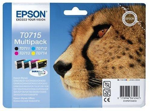Epson Multipack T0715 4 Colores - Cartucho de Tinta para impresoras (Cian, Magenta, Amarillo, 5,5 ml, Epson D78/DX4000/4050/5000/5050, 38,5 cm, 20,2 cm, 15,1 cm)