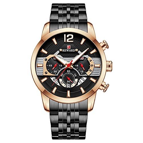 ZFAYFMA Reloj de pulsera para hombre, de cuarzo, correa de acero inoxidable, resistente al agua, calendario, multifunción, cronógrafo, moderno, analógico, informal, oro rosa