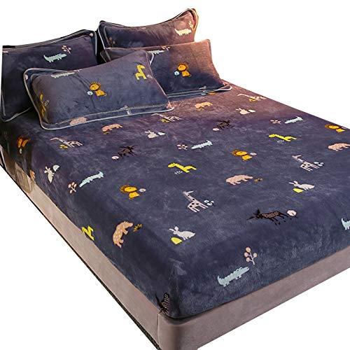 KUYG Ropa de cama de franela, suave y aterciopelada, sábana de felpa, funda de colchón antideslizante