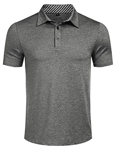 Men's Dry Fit Short Sleeve Polo Golf Shirt Casual Loose Striped Polo t Shirt Grey L