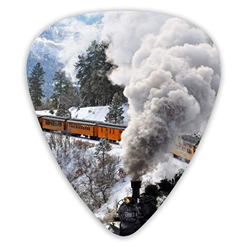 Púas de guitarra Durango Silverton Railway Winter Train 12 piezas Púas de ukelele que incluyen 0,46 mm 0,71 mm 0,96 mm