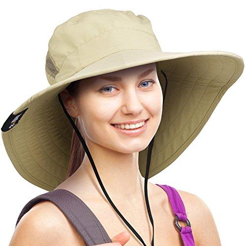 Wide Brim Sun Hat Outdoor UV Protection Safari Cap for Women Tan