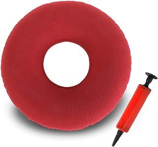 TDCQ Cojín Inflable Redondo,Cojín de Dona Cojín Redondo,Hemorroides Donut,Cojín de Anillo Inflable,Cojín de Asiento Redondo,Cojín Redondo (Rojo)