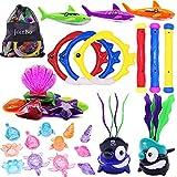 JOINBO 32 Pcs Dive Toys Pool Toys/Underwater Swimming Toys, New Diving Shark (2Pcs), Jumbo Diving gem (8Pcs), Treasures (12 Pcs), Rings (3pcs), Torpedo Bandits (3Pcs),Diving Sticks(3Pcs)