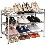 Seville Classics 3-Tier Stackable 12-Pair Shoe Rack Metal Freestanding Storage Shelf for Bedroom, Closet, Entryway, Dorm Room, Satin Pewter Mesh