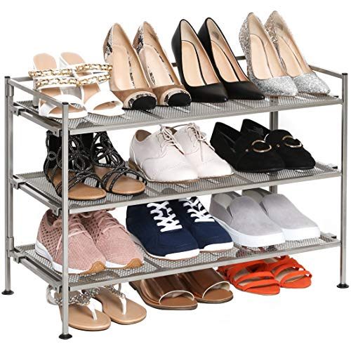 Seville Classics 3-Tier Stackable 12-Pair Shoe Rack Metal Freestanding Storage Shelf for Bedroom Closet Entryway Dorm Room Satin Pewter Mesh