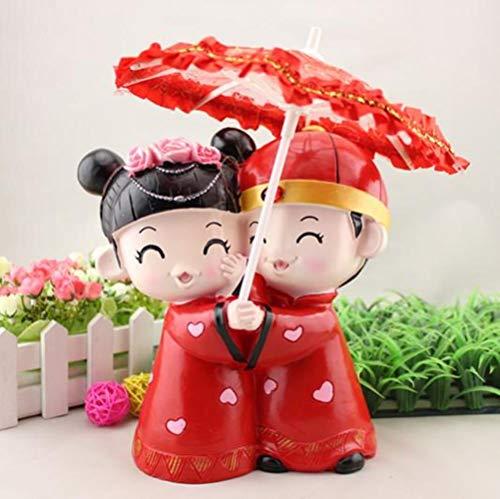 Soode creatieve bruiloft geschenken chinese traditie stijl paar romantische paraplu bruid en bruidegom bruiloft taart topper beeldjes kleur rood