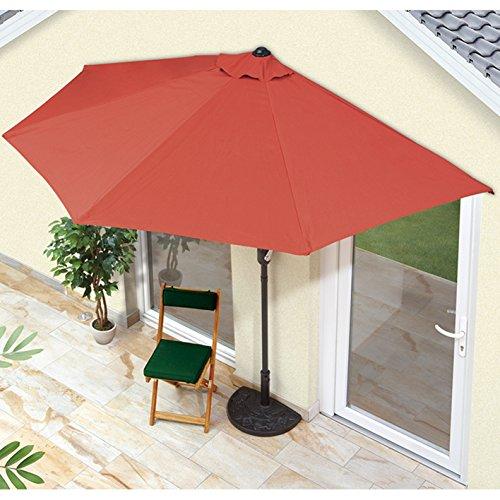 EASYmaxx Sonnenschirm 'Balkon/Terasse halbrund' | Lässt Sich passgenau an der Wand platzieren | Mit praktischer Handkurbel, UV-Schutz 40+ | 270 x 140 cm [Sommerliches Terracotta]