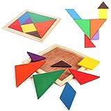Isuper Set de Juego de Tangram,Rompecabezas Puzzles de Madera, Juguete Educativo de geometría de Cerebro Tangram Arco Iris para niños y bebés