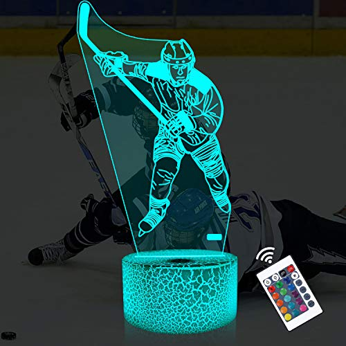 Lampeez Kids 3D Ice Hockey Player Night Light Optical Illusion Lamp with 16 Colors Remote Control Changing Birthday Xmas Valentine's Day Gift Idea for Boys and Girls