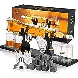Whiskey Karaffe Gewehr, Kacsoo Whiskey Karaffe Einstellen 800ML, Mit 9 Whisky Steine, Ausgießer & 4 Bullet- Whisky Weinglas und Ausgießer, Geschenke für Männer, Bar Dekanter