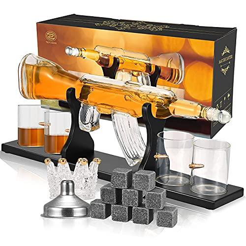 Kacsoo Decanter per Whisky Set Decanter Gun Whisky in Vetro borosilicato con 2 Bicchieri, Una Tazza di tartaro con Corona di Ghiaccio, Un Imbuto per versare per Vino, Brandy, Bourbon, Scotch