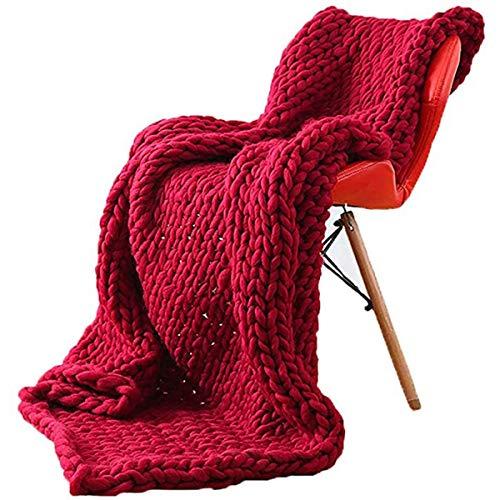 GUOYUN Grande Suave Manta De Punto Grueso Hecho A Mano Cómoda Y Gruesa Cuarto Lanzar Ligero Fácil De Lavar para Cama Sofá Decoración (Color : Wine Red, Size : 40×79in(100×200cm))