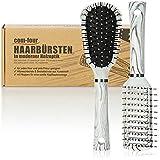 com-four® Juego de cepillos para el Cabello de 2 Piezas para Mujeres y Hombres - Cepillo Esqueleto, Cepillo Multiusos - Peinado (Juego de 2 Blanco y Negro)