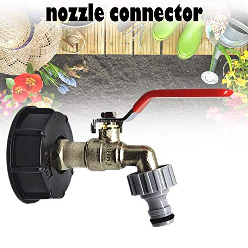 IBC Tote Tank Food Grade Drain Adapter, 1/2' Garden Hose Brass Faucet with Nozzle Connector, Water Tank Hose Connector Replacement