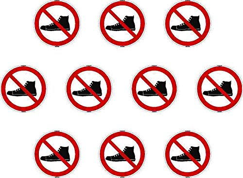 Kleberio® 10 Selbstklebende PVC Aufkleber 100 mm 10 cm - Schuhe verboten! - für Innen & Außen geeignet Piktogramm Hinweis Aufkleber