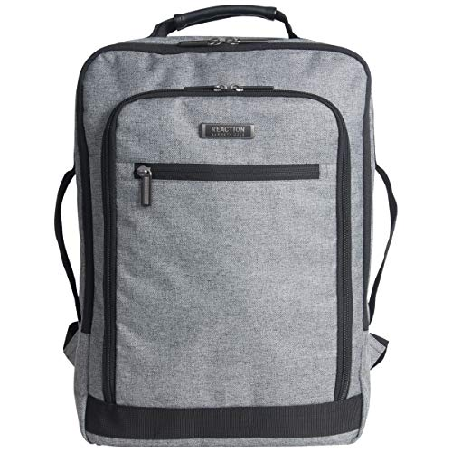 """Kenneth Cole Reaction Dual Compartment Checkpoint Friendly Slim 17"""" Laptop Backpack with RFID, Charcoal, One Size"""