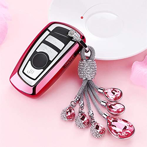 ZYTN Für Neue weiche TPU Tastatur Abdeckung Fall für BMW f10 f20 f30 z4 x1 x3 x4 m1 m2 m3 e90 1 2 3 5 7 Serie autoschlüssel Schutz schlüsselbund schlüsselanhänger,A-roter Schlüsselring