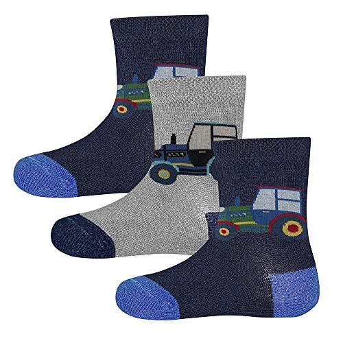 Ewers 3er Pack Trecker Kindersocken für Jungen, MADE IN EUROPE, Socken Baumwolle Traktor