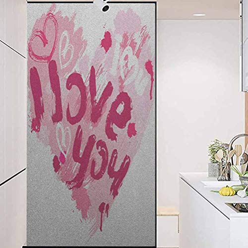 """Privacy Decorative Glass Film, I Love You Paintbrush Valentines Message Best Friends, Home Window Tint Film Heat Control, 23.6"""" Wx78.7"""" Linches"""