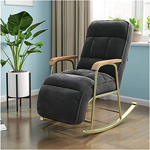 KUYH Fabric rocking chair, modern balcony armchair, living room furniture, lazy sofa recliner, bedroom lounge chair