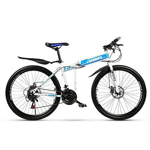26 Zoll Mountainbike, Scheibenbremsen Hardtail MTB, Trekkingrad Herren Bike Mädchen-Fahrrad, Vollfederung Mountain Bike, 27 Speed,Blau,High match