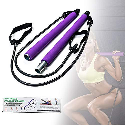 HIMABeauty Pilates Barra Multifuncionales, Yoga Stick Fitness Bar Banda De Resistencia Al Ejercicio De Sentadillas Y Glúteos para El Hogar, Cuerdas De Tensión, Modelado,Púrpura
