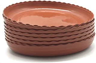 DODXIAOBEUL Light Reddish Brown Color Plant Saucers 8 Pack Flower Pot Drip Trays for Indoor & Outdoor Plants Garden Saucers Plant Pot Saucer Trays Assorted Sizes for Large to Small Pots (8 Inch)