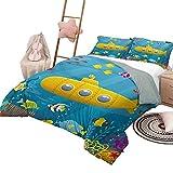 Juego de edredón, colcha submarina amarilla, cubierta de cama para todas las estaciones, dibujos animados bajo el mar, aventura, medusas, cofre del tesoro, gaviota, pez, tamaño completo, azul, amarill