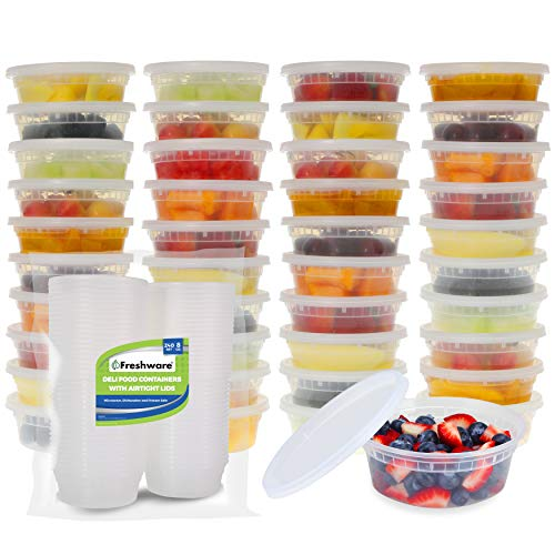 Freshware Food Storage Containers [240 Set] 8 oz Plastic Deli Containers with Lids, Slime, Soup, Meal Prep Containers | BPA Free | Stackable | Leakproof | Microwave/Dishwasher/Freezer Safe