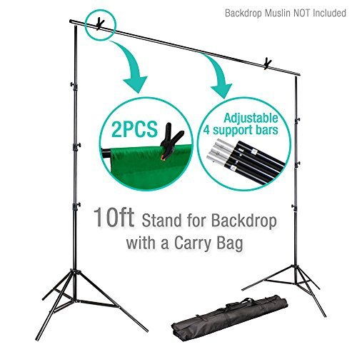 Stand Photo Backdrop Adjustable 10Ft Background Support Backdrop Crossbar Kit Photography
