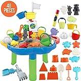 deAO Tavolo da Gioco con Acqua e Sabbia attività per Bambini all'Aperto Tavolo con Copertura Include Accessori