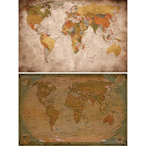 GREAT ART Juego de 2 Carteles – Mapa del Mundo Vintage – Look Retro e histórico decoración países continentes Capitales Globo terráqueo Viajar póster (DIN A2 – 42 x 59,4 cm)