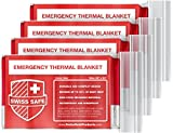 Emergency Mylar Thermal Blankets (4-Pack) + Bonus Signature Gold Foil Space Blanket: Designed for Outdoors, Hiking,...