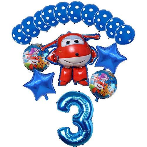 XIAOYAN Globos 16pcs Super Wings Balloon Jett Globloons Super Wings Toys Fiesta de cumpleaños 32 Pulgadas Número Decoraciones Niños Juguete Globos Suministros ( Color : Blue3 )