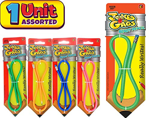 JA-RU Flexible Bendy Pencil 20 inches 20' Long (1 Unit Assorted Color) Really Writes Soft Bending Pencils for Kids and Adults. Fun Pens Great Birthday Party Favor School Supply Toy. #1367-1A