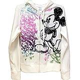 Disney Junior Women Ornate Mickey Mouse Zip Up Hoodie, Off White (Medium)