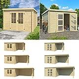 Lasita Maja Gartenhaus I Gerätehaus aus Holz I nordische Fichte Natur I 292 x 292 cm I Modell: Miami mit Tür 2