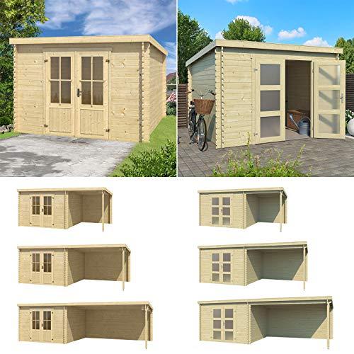Lasita Maja Gartenhaus mit Pultdach I Gerätehaus aus Holz I nordische Fichte Natur I 292 x 292 cm I Modell: Miami mit Tür 2