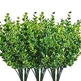Tamkyo Arbustos artificiales arbustos hojas de eucalipto, plantas verdes falsas para boda, jardín, verandá, centros de mesa, arreglos de 10 piezas