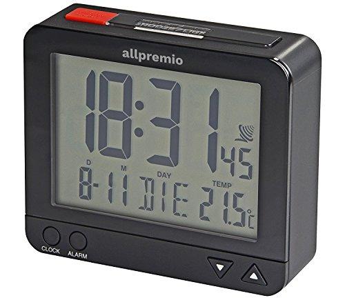 Funkwecker Digital – kompakter Funk Uhr Wecker mit Licht Schlummerfunktion Snooze Alarm Datum und Temperatur großes Display beleuchtet – Schwarz