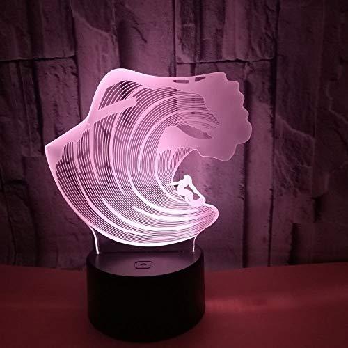 LG Snow Surfing The Waves LED colorido degradado 3D estereoscópico táctil remoto USB lámpara de escritorio de noche luz de noche creativa decoración escritorio de cumpleaños 20 x 13 cm