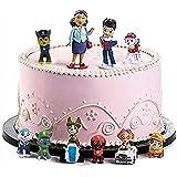 WENTS Caricatura Paw Dog Patrol Cake Topper Mini Juego de Figuras Niños Mini Juguetes Baby Shower Fiesta de cumpleaños Pastel Decoración Suministros 12 piezas