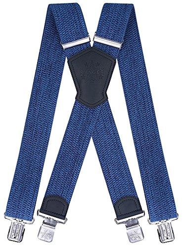 Ranger Herrenhosenträger X Form robust Dx50 2 (Blaue Melange 1)