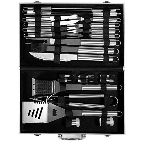 51reM8WHAOL - COSTWAY Grillbesteck-Set 27-teilig, aus Edelstahl, BBQ-Grillwerkzeugsatz mit Tragekoffer, Komplettes Grillzubehör zum Kochen, Camping